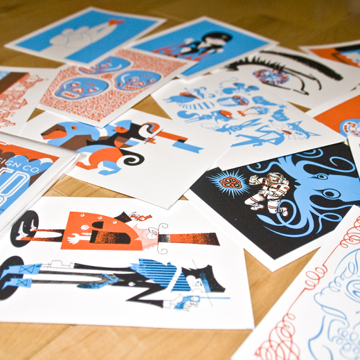 cards, gig poster cards, gig poster, octopus, bandito, prints
