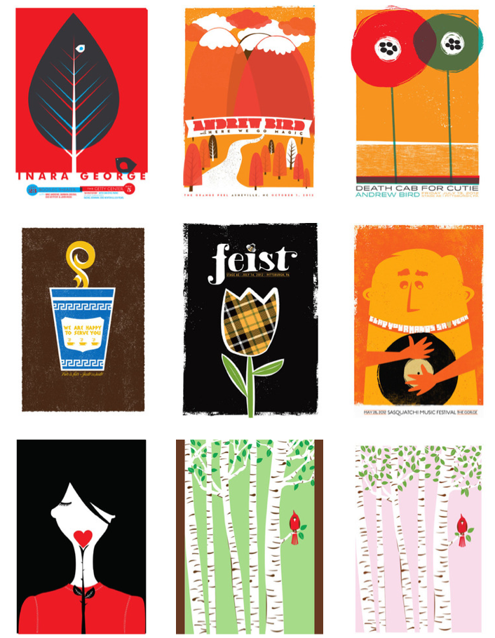 strawberryluna, domestica, andrew bird poster, inara george poster, death cab poster, feist, gig poster, poster