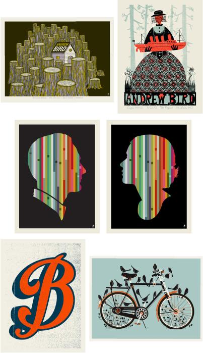 methane studios, methane, andrew bird, gig posters, band posters, silhouettes, mid century art, bike posters, bike prints,