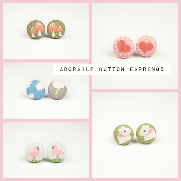 Rachel Ourada, fabric Button Earrings, Domestica, valentines, birthday gift