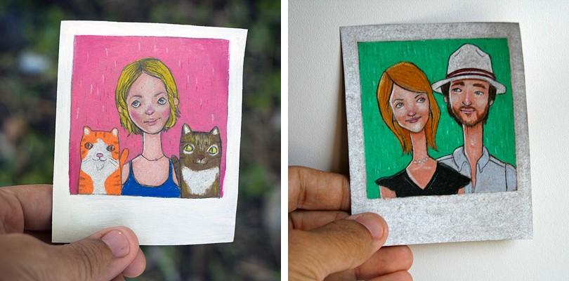 portrait, pet portraits, custom portraits, polaroid portrait