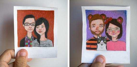 portrait, pet portraits, custom portraits, polaroid portrait, valentine's gift, christmas gift