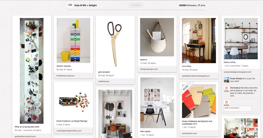 Pinterest, office ideas, office decor, organization ideas, inspiration board, wit + delight, mad men style, studio ideas, craft room ideas