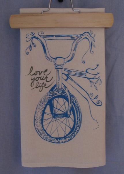 Sweet Nature Designs flour sack screenprint bike dishcloth