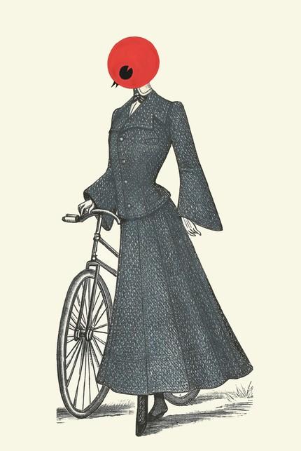 naughty and nice birdwoman teacher print bike