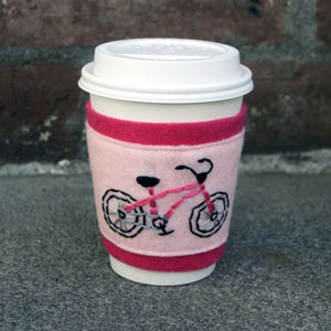 Flapper Girl Bike Coffee cup cozy