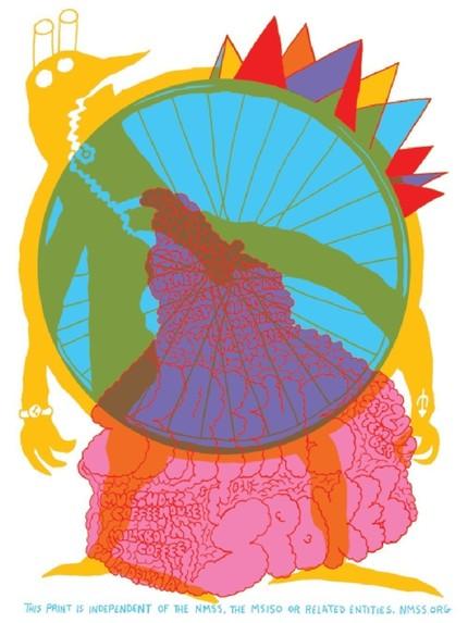 screen spokes screenprint bike poster