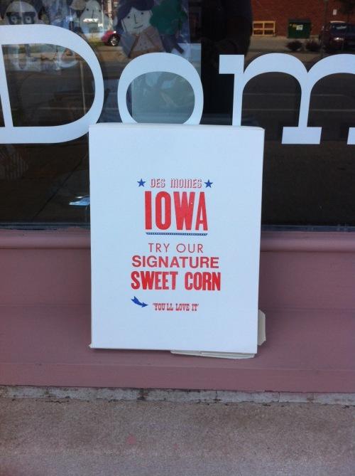iowa print, des moines print, sweet corn, corn, corn print, sweet corn print, power light and press, kyle durrie, type truck, letterpress print, iowa state fair, state fair