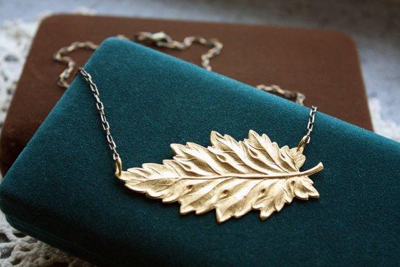 Garden fall Foliage Leaf Necklace by Christine Domanic