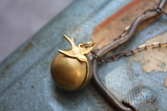 Ball and Chain Bird Necklace by Christine Domanic