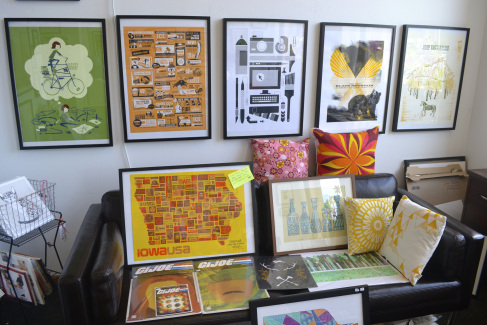 Domestica as seen by New Fridays (Posters by Kate Allen, Basemint Design, Aaron Draplin, Methane Studios, Saturday MFG + Jolby. Cat print by Gingiber.