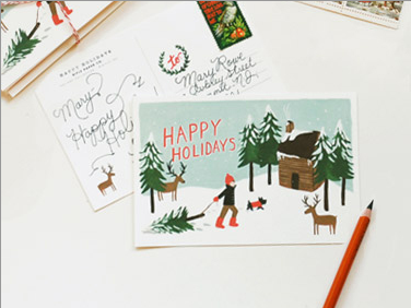 HAPPY HOLIDAYS POSTCARDS by RIFLE PAPER CO.