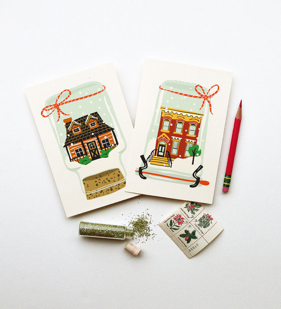 LITTLE LOW STUDIO SNOW GLOBE HOLIDAY POSTCARDS