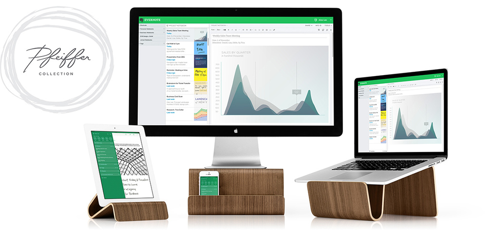 EVERNOTE + PFEIFFER'S  BENT PLYWOOD STAND