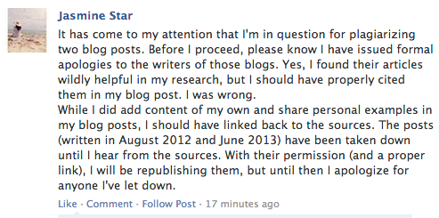 Jasmine Star's Apology (again.)