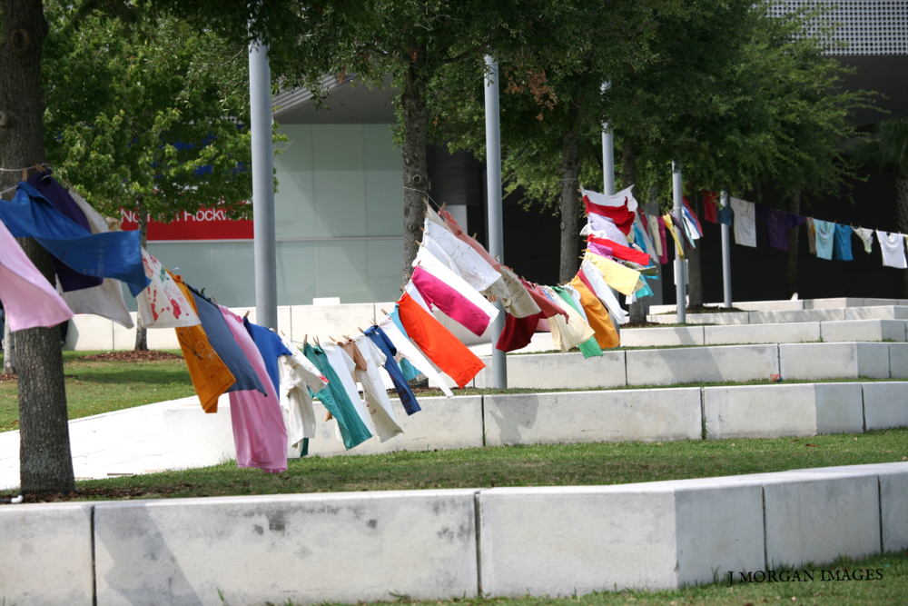 The Clothesline Project in effect at Curtis Hixon Park