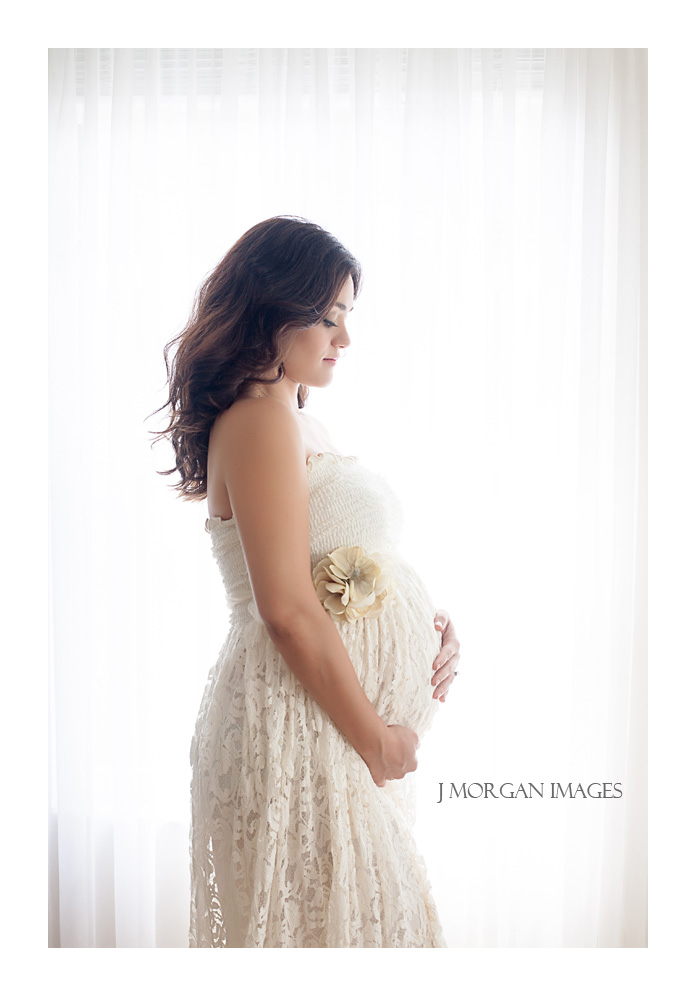 back lit cream lace maternity