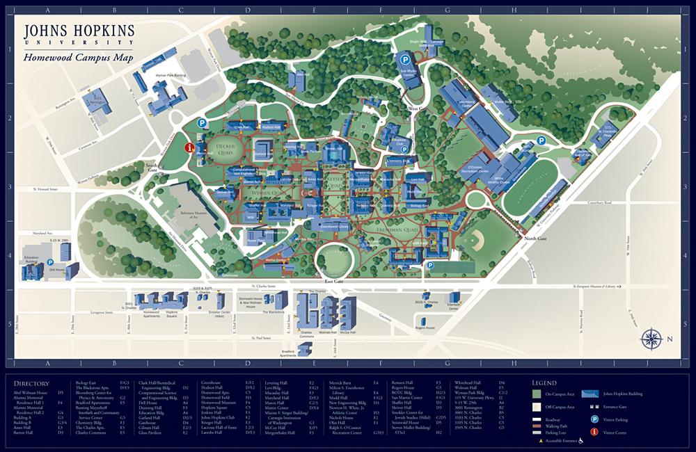 Johns Hopkins Campus Map   Prasnebarve