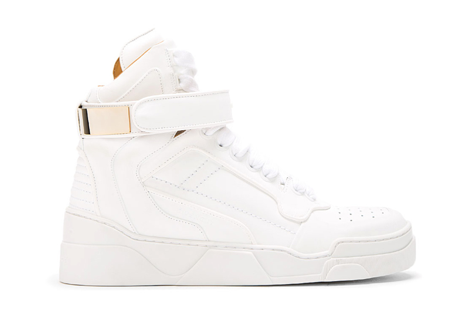 givenchy white leather gold plated high top sneakers