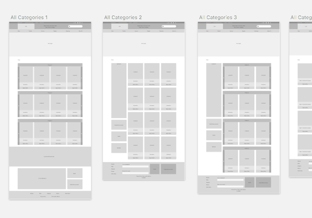 Wire Frames - We conducted a heuristic review, which helped us group pages based on type of content into templates to start wire framing and designing against. Examples of groups are brochure pages, product page, teacher page, all-categories page, and home page.