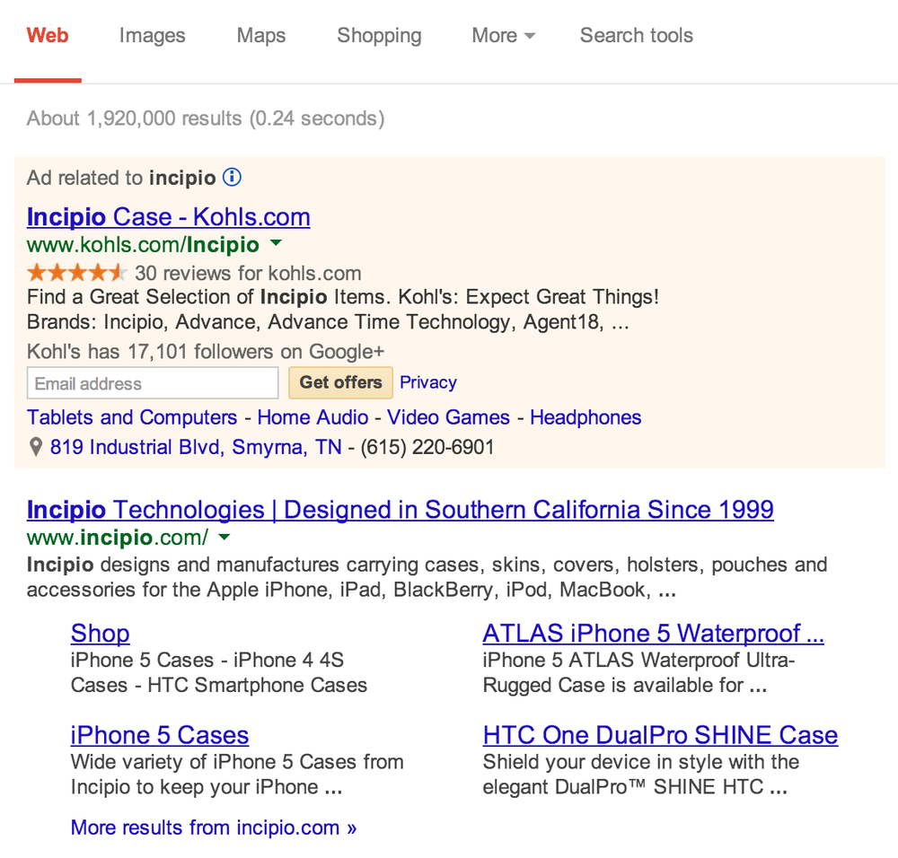 "An example of a ""paid"" advertisement in Google Search results."