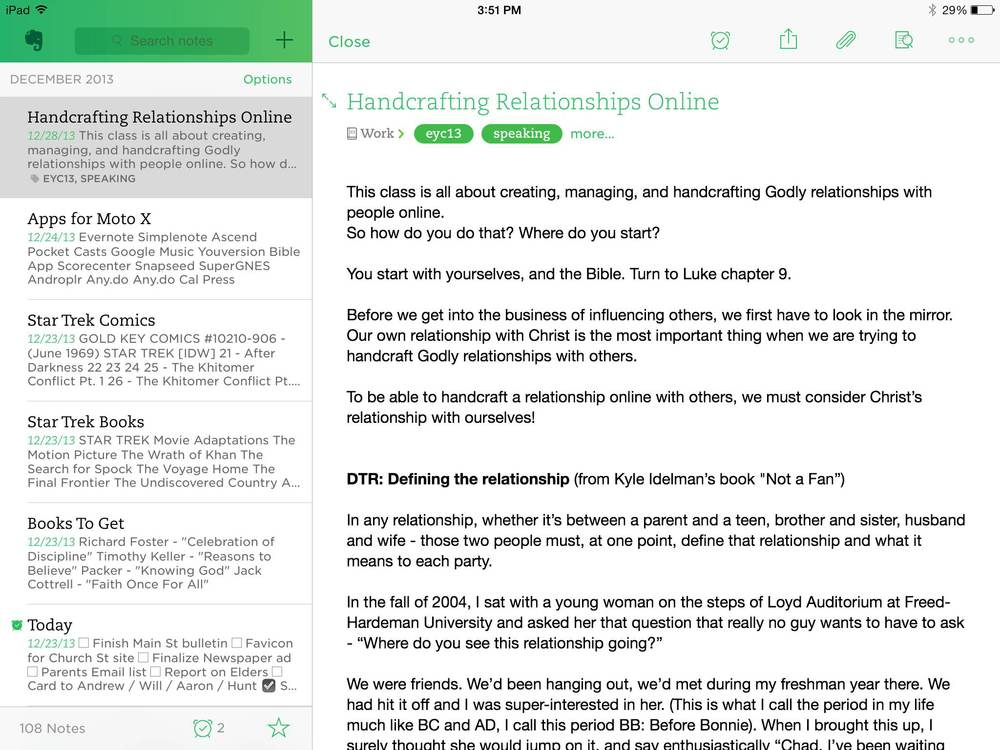 The Evernote iPad app is gorgeous.