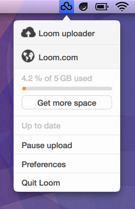 The Loom Mac app lives in your Menubar.