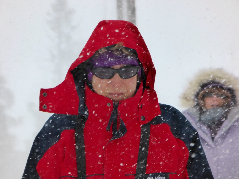 Here's the National Geographic Expert Kitty Coley braving the snow the Grand Canyon the Yellowstone.