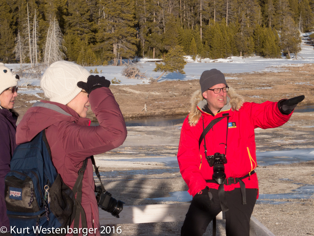 Dan Westergren explaining photographic opportunities near Castle Geyser.