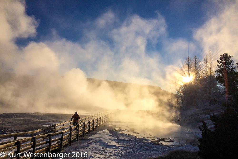 Early morning at Mammoth Hotsprings Terraces.
