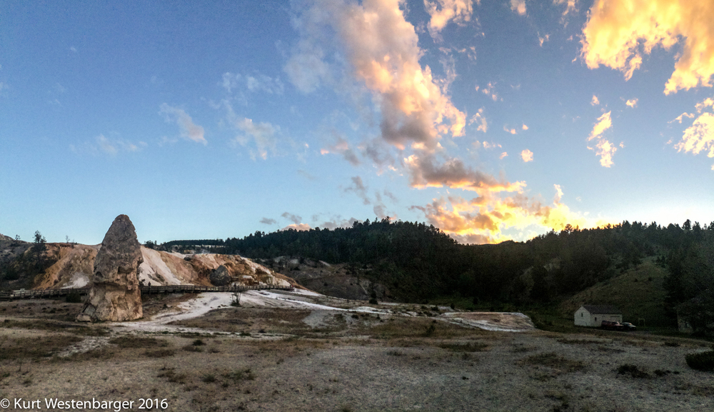 Sunset at Mammoth Hotsprings