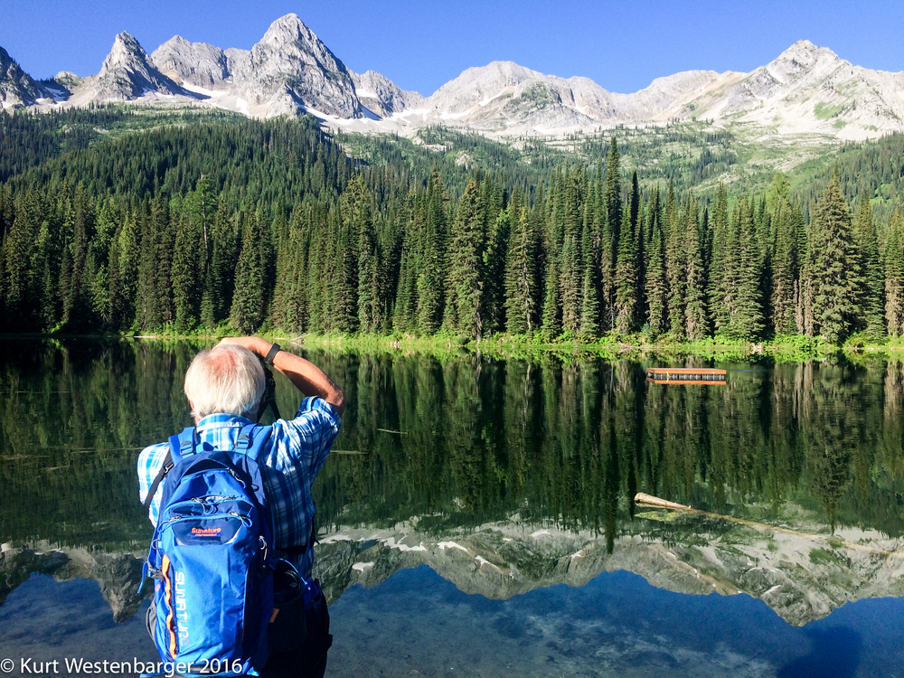 Photographing Island Lake and the Three Bears Mountains in British Columbia.