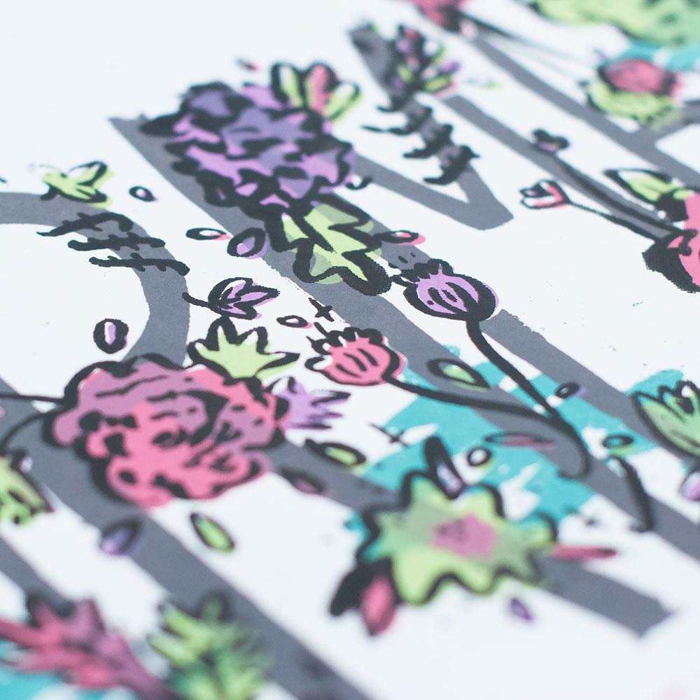 GRIMES GIG POSTER Print design, illustration, lettering