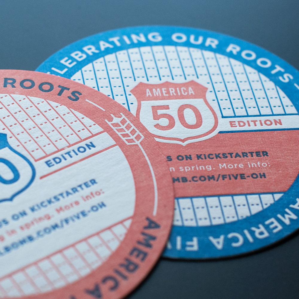 AMERICA FIVE-OH COASTERS Print design