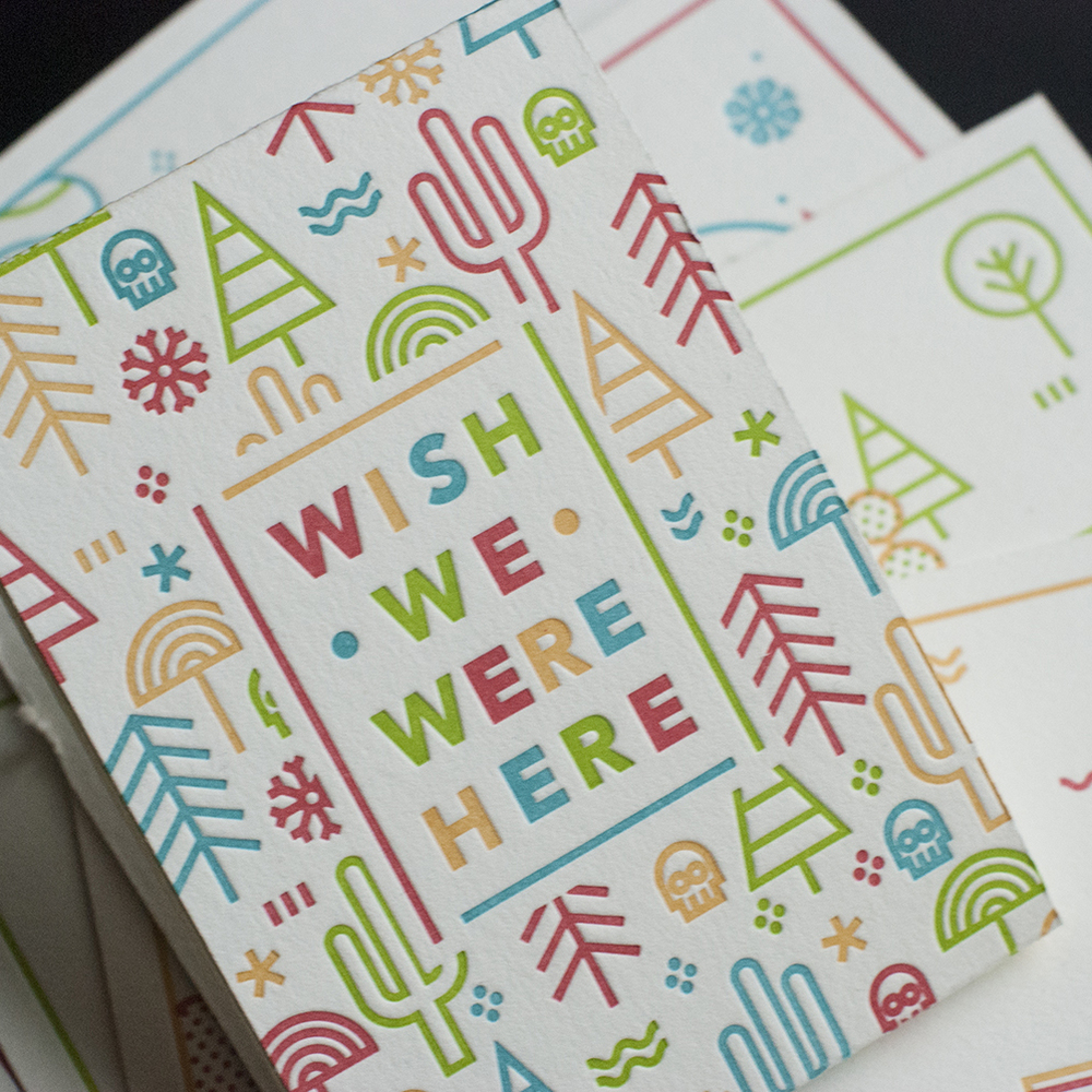 WISH WE WERE HERE Print design, illustration