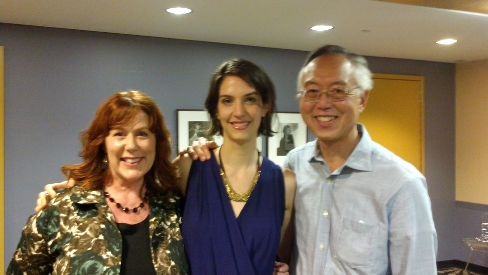 Composer Marisa Michelson (ctr) with supporters Mary Jo and Ted Shen (Shen Family Foundation)
