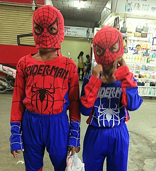 Vin and Vit in their favourite spiderman costumes - not your usual kind of heroes