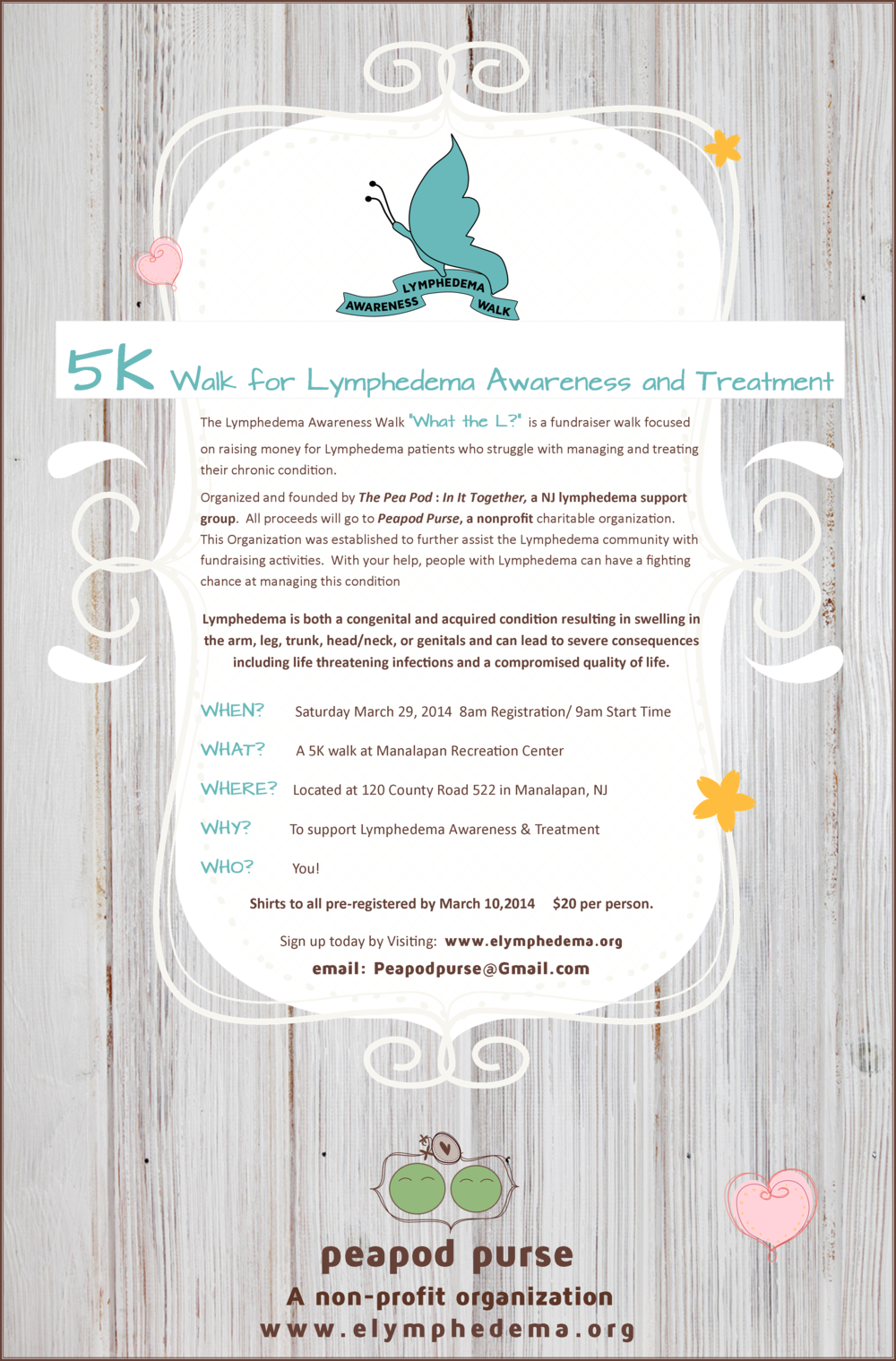 lymphedema walk NJ  Lymphedema Support Group  Peapod Purse
