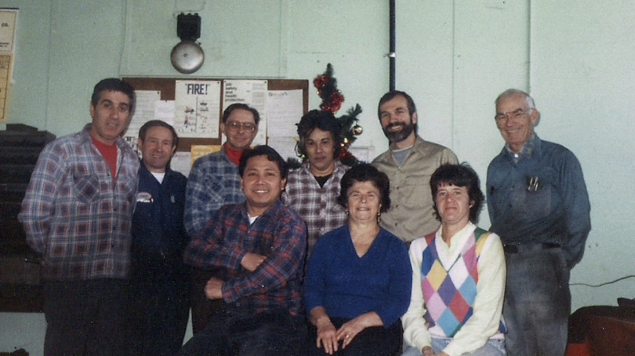 The Stollen Machine & Tool Company family circa 1990.  Walter Stollen and his son Bob Stollen to the upper right.