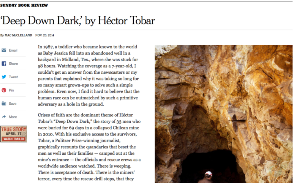 SUNDAY NEW YORK TIMES BOOK REVIEW OF HECTOR TOBAR'S DEEP DOWN DARK