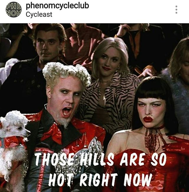 Tonight at 6:30, join the most ridiculously good looking boys and girls of @phenomcycleclub for some very hot hills. It's 25 miles of hard, but they always wait at the top for ya.