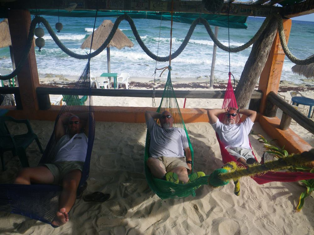 Owners Tige Pratt, Zane Nania, and Mike Weiss in Cozumel.