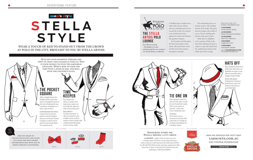 Illustrations for Stella Artois,  Men's Style  magazine