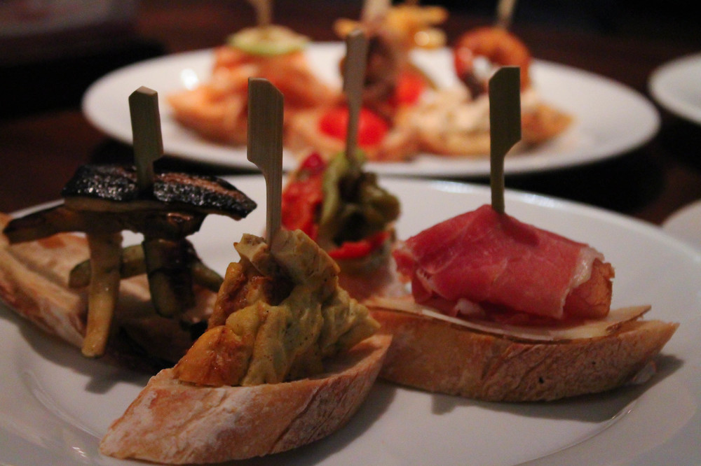 Pintxos: roasted vegetables, pickled peppers, Spanish tortilla and more