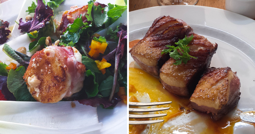 Café le Pointié :  Grilled goat cheese salad, grilled duck breast with mango sauce