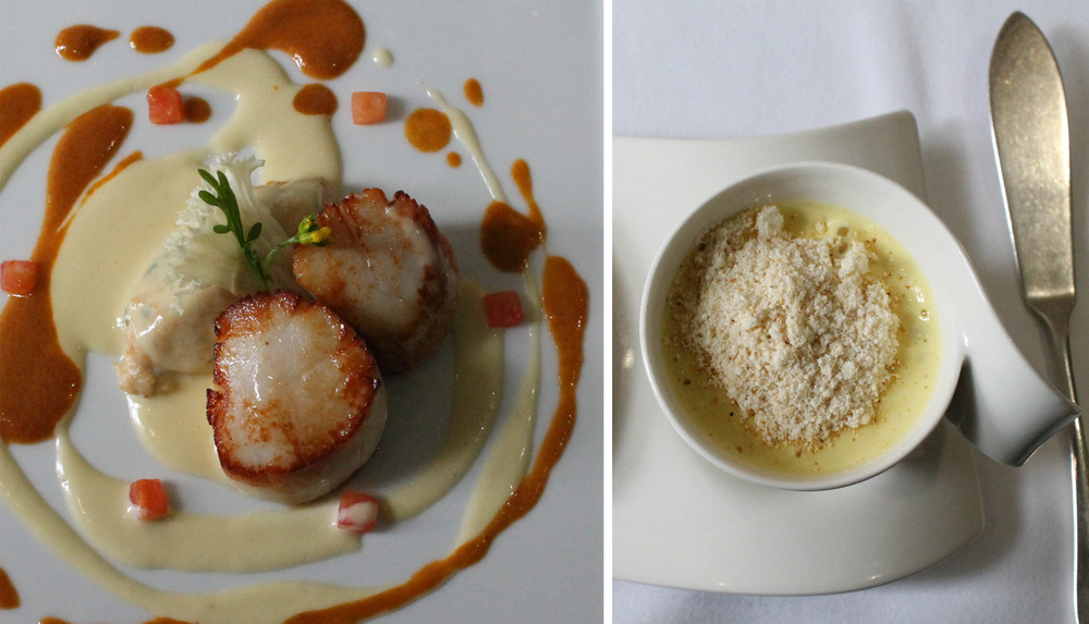 Warm west-coast crab mousse, seared scallops and hake, rich seafood sauce, Sweet and salty corn soup