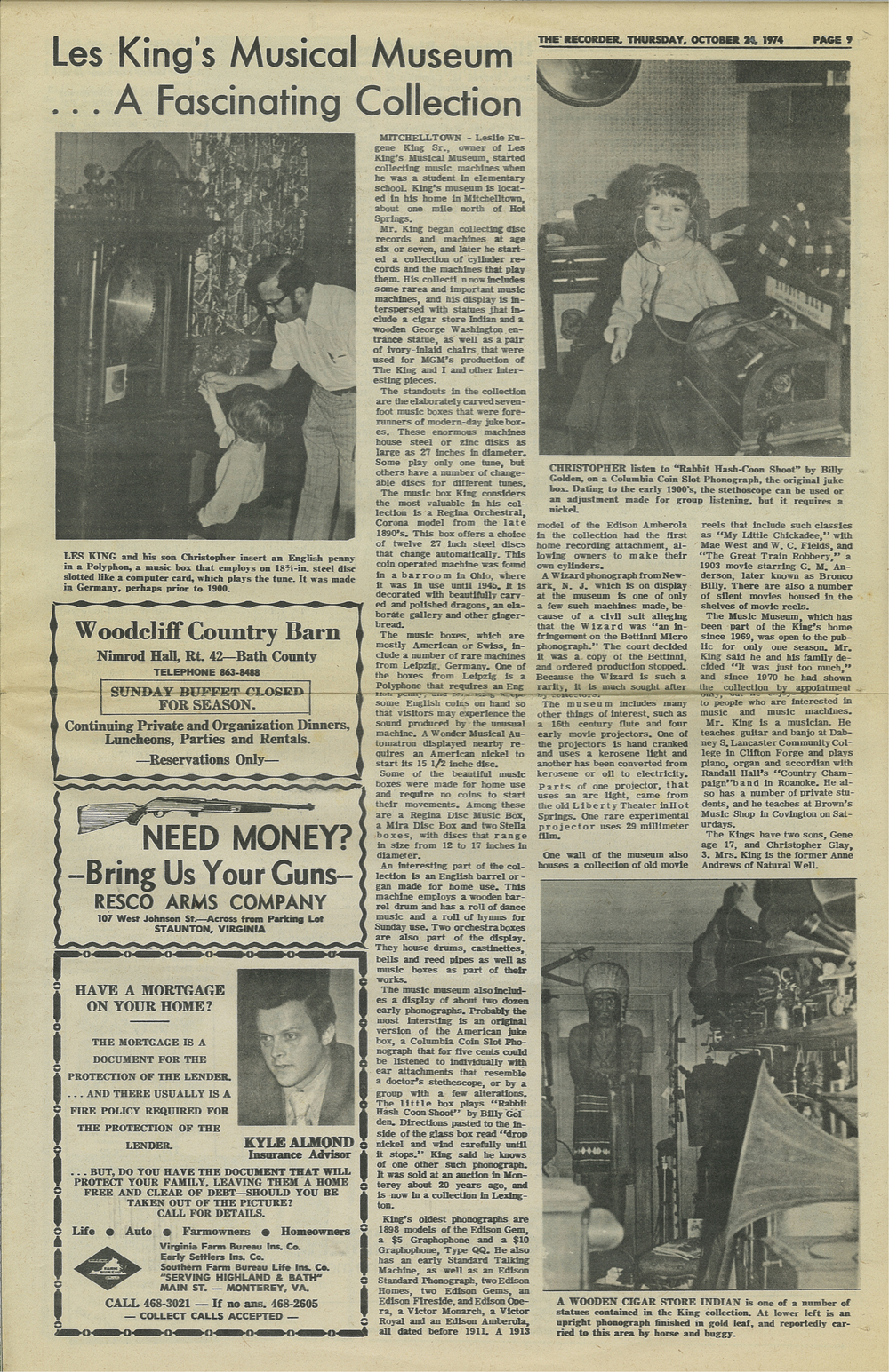 The Recorder 10.24.1974 Les King's Musical Museum... A Fascinating Collection