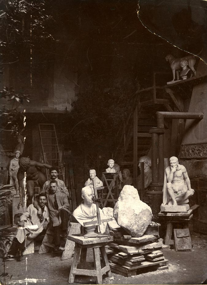 1893 studio photograph, with Georg Jensen in the far back, and Siegfried Wagner in the front.