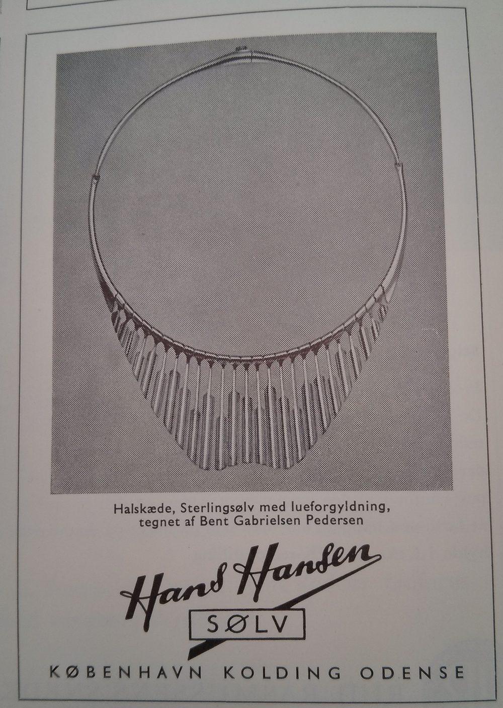 A Hans Hansen advertisement featuring a beautiful necklace designed by Bent Gabrielsen