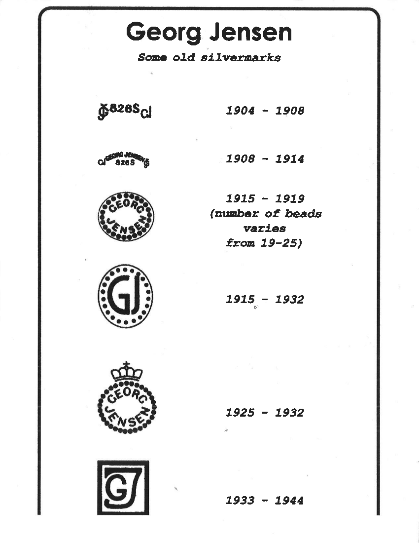 A quick list of some of the possible Georg Jensen hallmarks. A more detailed listing below.  Click the image to enlarge.